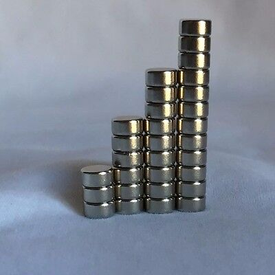 Used, Strong fridge disc magnets, N42 Neodymium, rare-earth 6mmx3mm Set of 25 for sale  Virginia