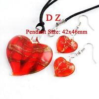 Women's Pretty Bead Glass Murano Pendant Heart & Earrings Set 2