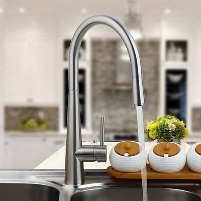 Nickel Brushed Finish Pull Out Swivel Spout Kitchen Sink Mixer Tap Faucet