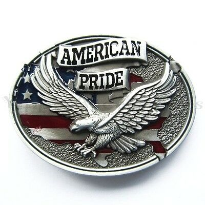 American Pride Flag w/ Eagle Metal Fashion Belt Buckle