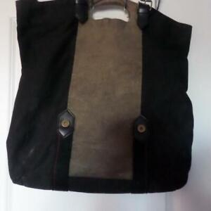 Large Black & Green Canvass Bag