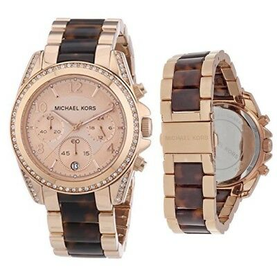 NWT. Michael Kors MK5859 Blair Chronograph Crystals Rose Gold Tone Women's Watch