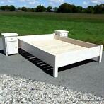 bed 140 x 200 van duurzaam gerecycled hout, white wash