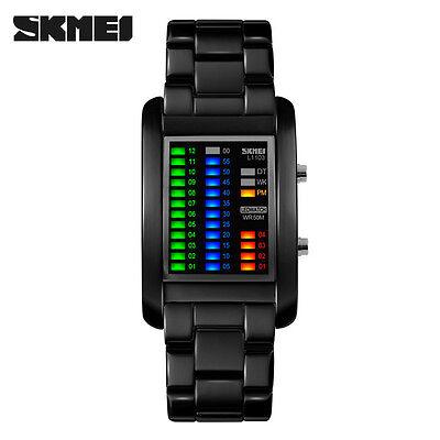 Skmei Men Fashion Casual Luxury Binary Led Tungsten Steel Waterproof Watches