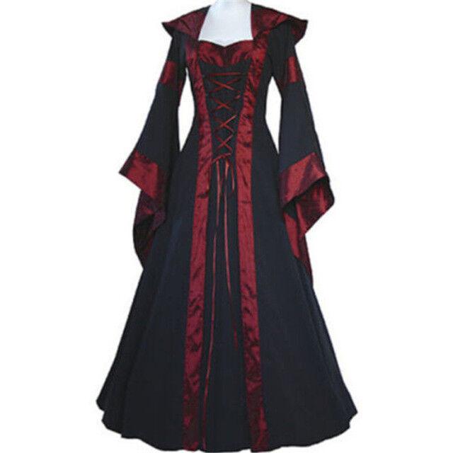 Women Vintage Victorian Renaissance Gothic Dress Medieval Dress Costume Hooded@