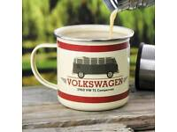 Volkswagen 1963 T1 Campervan Enamel Tin Mug slight seconds
