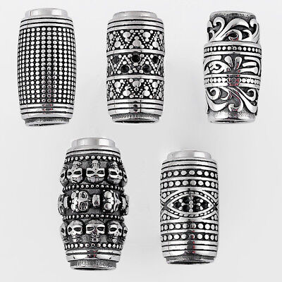 Antique Silver Stainless Steel Strong Magnetic End Caps Clasp For 8mm Round Cord ()