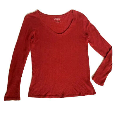 Majestic Filatures Womens 1 Deluxe Tee Shirt V-neck Long Sleeve Barn Red Small