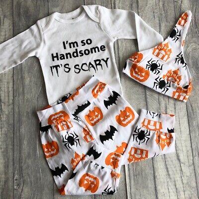 BABY BOYS HALLOWEEN ROMPER SET, Long Sleeve Pumpkin Pants & Hat Handsome Scary