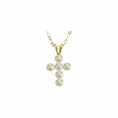 14 k yellow gold freshwater cultured pearl cross 15 inch necklace Cultured Pearl Yellow Cross