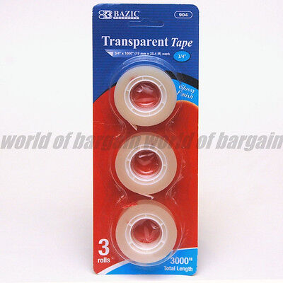 3 X Transparent 34 X 1000 Adhesive Tape 1 Core Refill Tapes 3000 Total C002