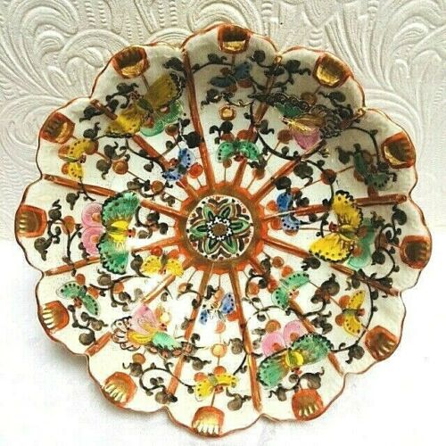 Beautiful Antique Meiji Kutani Signed Butterflies Scalloped Bowl