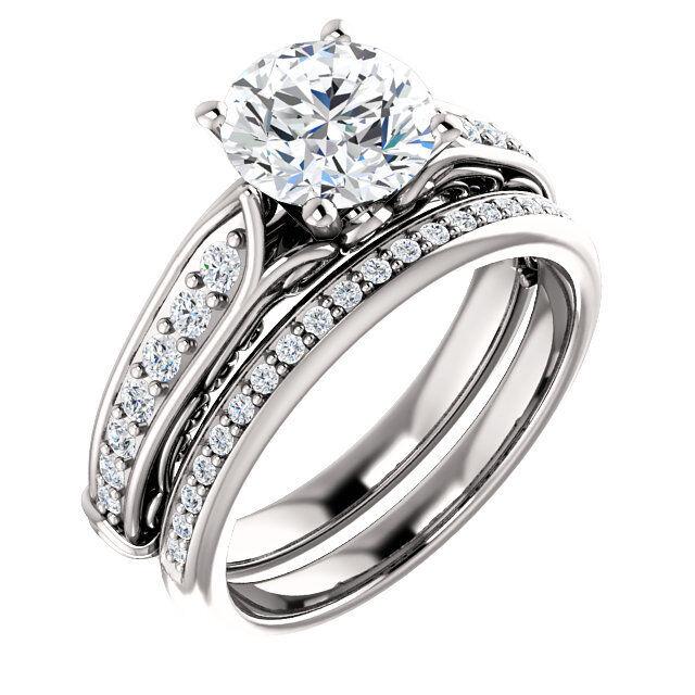 1.24 ct, 1.00 carat Round Diamond w/ GIA Report K SI2 14k white gold ring