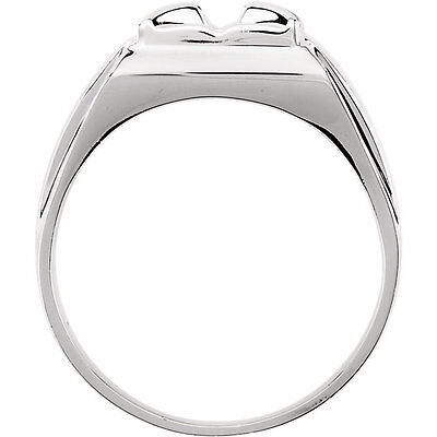 1.00 carat Round cut Diamond 14k White Gold Solitaire Mens Ring GIA H color SI2  1