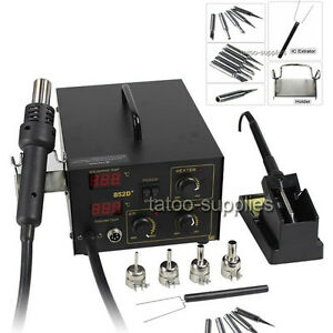 Latest 2in1 SMD Soldering Rework Station Hot Air & Iron 852D+ 5Tips ESD PLCC BGA