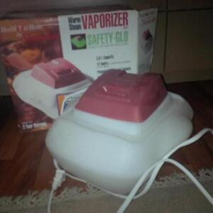 Warm steam vaporizer with safety-glo and auto shut-off