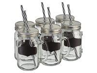 6x Glass Drinking Jars