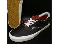 BRAND NEW Black leather vans, size 9.5 !!