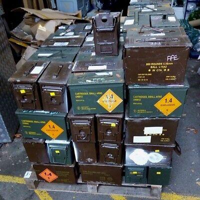 50 Cal Ammo Box Genuine - Military Tin Brown/Green British Army