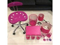 PINK SWIVEL CHAIR, IKEA PEN CUPS, LAMP, LAMPSHADE, LAPTOP SUPPORT, WASTE BIN, MAGNETS