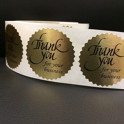250 Thank You For Your Business 2  Sticker Starburst Gold Foil New Thank You