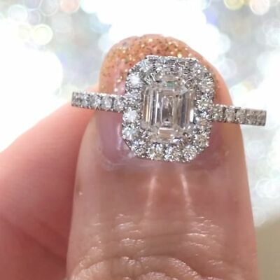 2.10 Ct Natural Emerald Cut Halo w/ Bow Diamond Engagement Ring F/VS2 GIA 14kwg 4