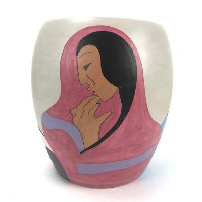 """R.C. Gorman """"The Joke"""" Pottery Ceramic Art Vase Signed"""