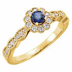 Halo Natural Sapphire Yellow Gold Fine Rings