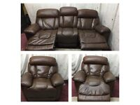 Brown leather 3/1 Seater Recliner Sofas good condition