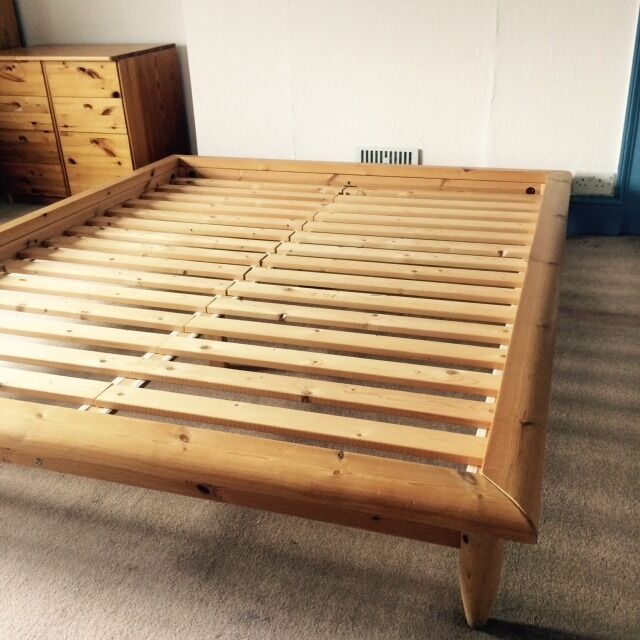 Wooden 39 king size 39 bed frame from ikea 39 hagali 39 in lutterworth leicestershire gumtree - Ikea wood futon frame ...