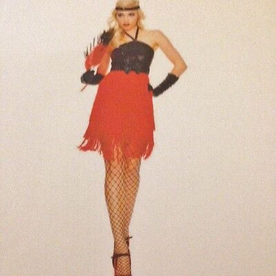 Womens Sexy 1920's FLAPPER RED and BLACK Tassles Fancy Dress Costume - Red Flapper Sexy Kostüm