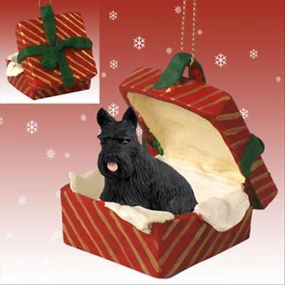 Scottish Terrier Dog RED Gift Box Holiday Christmas ORNAMENT