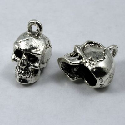 (15mm Antique Silver Cast Metal Skull Charm #CMA753)