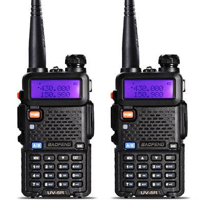 2PCS Baofeng UV-5R Walkie Talkie Headset VHF UHF Ham Portable 2-Way Radio DCS
