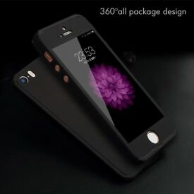 360 iPhone 5 6 6s case with tempered glass new