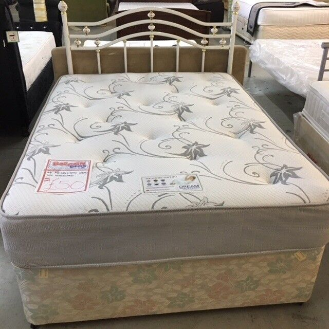 Double Divan Bed Mattress And Base With Metal Headboard