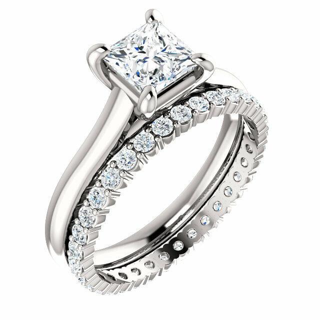 2.70Ct Princess Cut Diamond Engagement Ring w Eternity Wedding Band G VS2 GIA  5