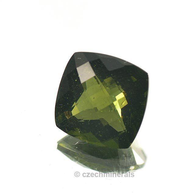 5.72cts square 12mm moldavite faceted cutted gem princess cut BRUS760