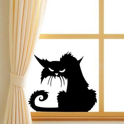 Black Cat Halloween Plane Cartoon Window Glass Stickers Hot Children Home Decor - Cartoon Halloween Black Cat