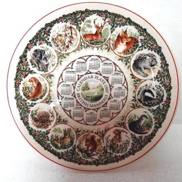Antique Vintage Porcelain Glass Calendar Plate 1997, British Mammals, Wedgwood Queen's Ware, England