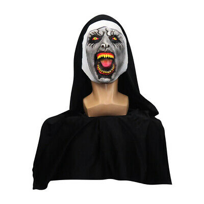Scary Valak The Rampage Nun Latex Mask w/Headscarf Horror Cosplay Halloween Prop