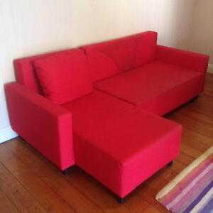 ikea KIVIK red two seat sofa and chaise lounge Wooloowin Brisbane North East Preview