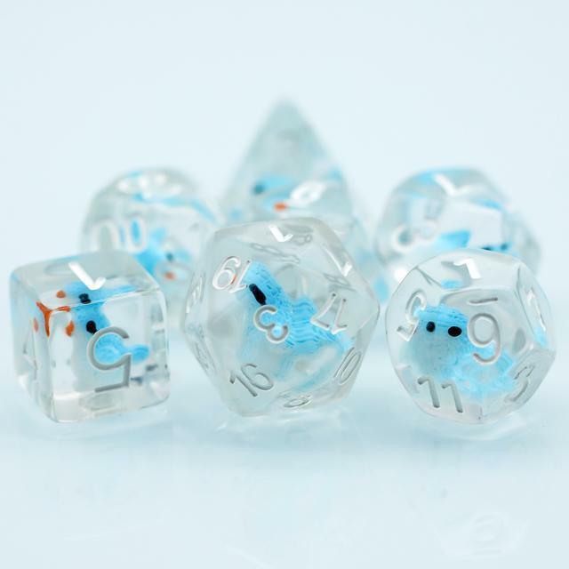 Blue Bird Dice  7-Dice Set Resin Dungeons and Dragons Dice