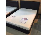 """NEW - 4'6"""" Black Faux Leather bed frame"""