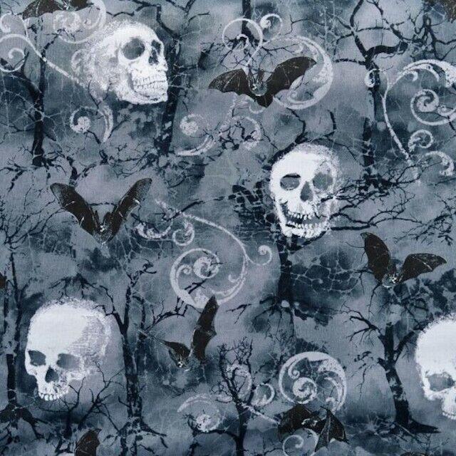 timeless treasures wicked c7022 fog skulls