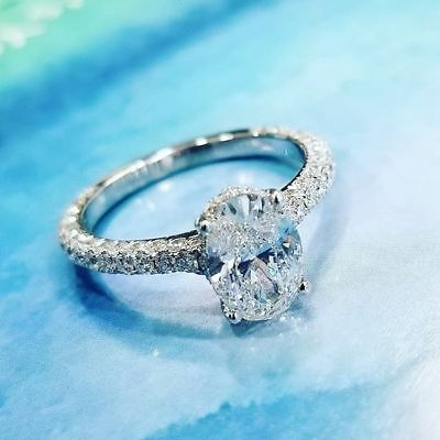 2.60 Ct Oval Cut Diamond Round Micro Pave Engagement Ring  D,VS2 GIA  3