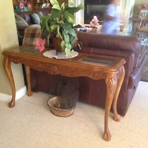 4 claw legged console table partial glass top.