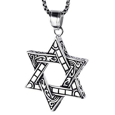 Ornate Star of David Religious Black Silver Stainless Steel Pendant Necklace