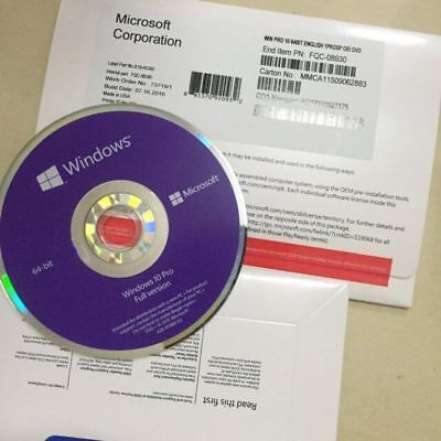 Brand New Microsoft Windows 10 Pro Professional 64Bit Oem Full Version