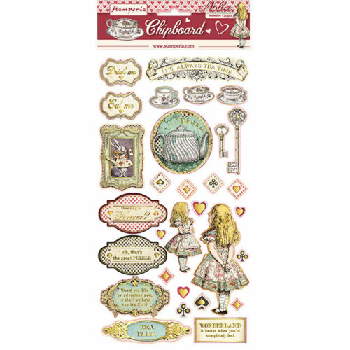 """Stamperia ALICE GOLD ACCENTS ADHESIVE Chipboard 6X12"""" 30 Pieces #DFLCB12G"""